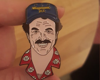 MAGNUM Tom Selleck 80s retro enamel pin