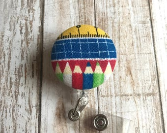 School Badge Reel | Teacher Badge Reel | Badge Reel | Fabric Badge Reel | ID Badge Holder