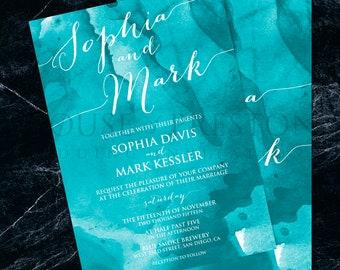 Venice Wedding Invitations, Elegant Watercolour Wedding Stationery Set