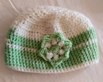 ZOE hat, precious cloche, beanie hat, slouchy hat, white with green stripes