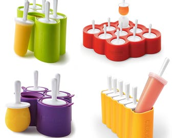 Zoku Ice Lolly Pops - easy to remove food safe Silicone Ice Lolly moulds with drip guards