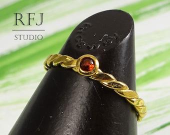 Natural Garnet Flat Braided GF Ring, 24K Yellow Gold Plated January Birthstone Ring, 2 mm Round Cut Red Genuine Garnet Gold Stacking Ring