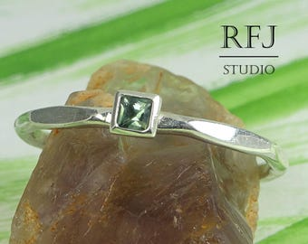 Square Synthetic Tourmaline Faceted Silver Ring, Green October Birthstone Princess Cut 2x2 mm Tourmaline Ring Square Setting Promise Ring