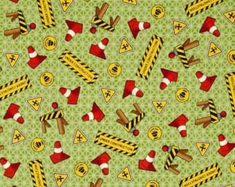 "Tonka Fabric,Cartoon Fabric:Hasbro Tonka Trucks-Tonka Road Work Construction cone signs Green 100% cotton fabric by the Yard 36""x44"" (C413)"