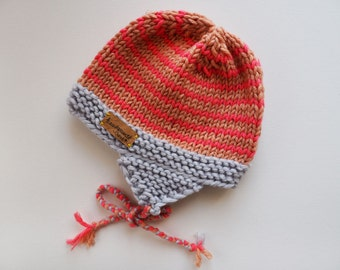 Knit Beanie ANTON/IA, wool, knit ear flaps, winter, children, babies,