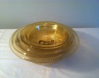 SALE  Set of FOUR Vintage Federal Glass Golden Glo Nesting Bowls