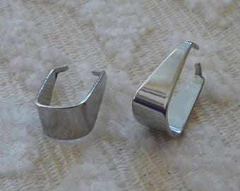 Stainless Steel Pinch Bails, Snap on Bail Connectors, Pinch Clip Bails, Bead Clamps, Silver tone Pendant Bails, Necklace Earring Connectors