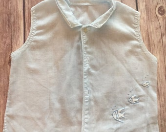 Vintage Baby Boy Shirt, Light Blue