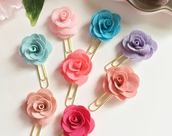 Fabric flower paperclip