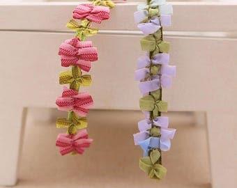 Beautiful design ribbon and organza flower fabric trim.