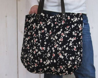 Canvas tote bag with leather straps plum blossoms Navy Blue off white rose