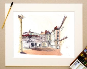 Watercolor - Place Royale and its merry-go-round of Christmas - Nantes signed reproduction and appear