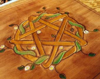 READY TO SHIP Pentacle Altar Mat - Tooled Leather Gold Pentacle with Flowering Vines