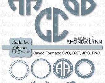 SALE! 2 Letter Circle Monogram Font Cut File | Monogram Lettering SVG dxf png jpg | 2 Letter Circle Monogram SVG | Bonus Circle Frames