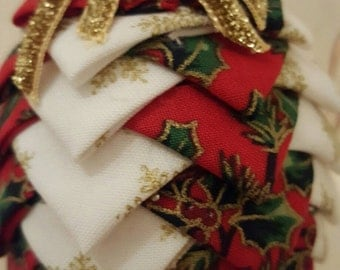 Luxury Xmas baubles- handmade fabric Christmas decorations - set of 3 Xmas decorations