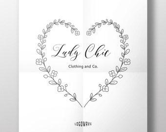 Love Logo. Heart Logo. Premade Logo. Company Logo Design. Foilage Logo. Leaves Logo. Photography Logo.  DIY Logo Design. Blog Logo. Doodle