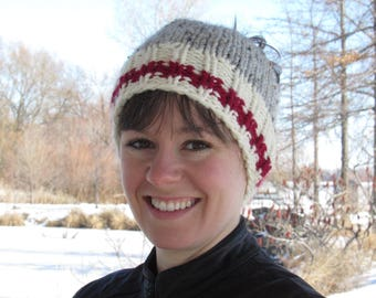 Messy Bun Hat, Wooly Sock Pony-tail Toque, Wool Sock Hat