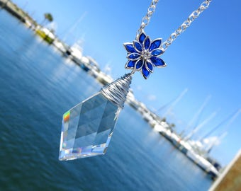 Vintage Crystal Prism Necklace // Blue Flower Necklace // Silver Wire Wrapped Vintage Kite Crystal and Flower Necklace
