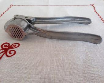 Soviet garlic press, Food press, Aluminum press, Kitchen gadget, Vintage kitchen tool, Retro garlic press, Garlic hand pres, Cooking gadgets