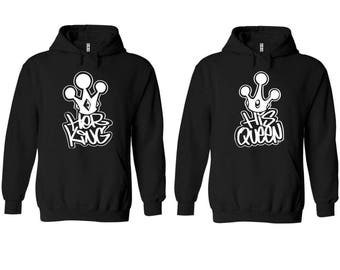 Graffiti King Queen Couple Matching Premium 10 oz 80 cotton Black Hoodie - Price for 1 hoody-