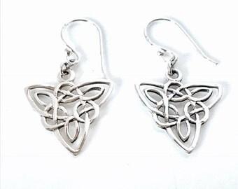 Sterling Silver Celtic Earrings/Solid Silver/Handmade