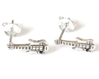 Sterling Silver Electric Guitar Stud Handmade Earrings