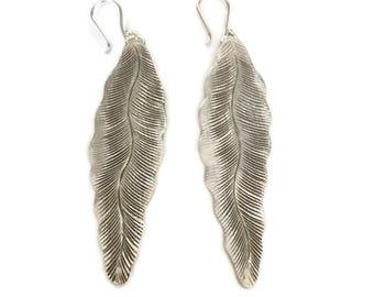 Sterling silver Large Leaf Earrings