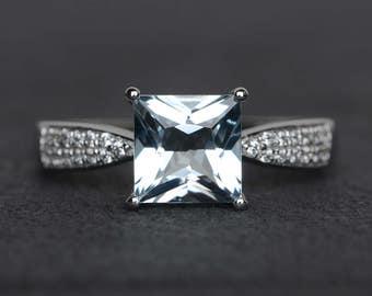 princess cut brilliant aquamarine ring engagement ring silver blue gemstone ring promise ring March birthstone