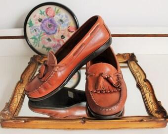 Vintage Next Brown Tan Leather Tassel Fringe Flat Moccasins Loafers Shoes Size UK 5 EU 38 US 7