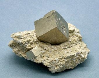 Golden Pyrite Cube Crystal on Matrix – 163g