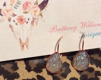 Clear- Teardrop Dangle druzy earrings