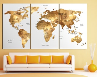 Large gold world map canvas print set, Geometric gold map of the world, large world map poster gold, golden world map Wall Art Home Decor