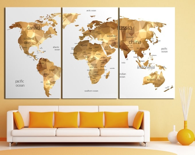 Gold World Map Poster.15 Off Coupon On Large Gold World Map Canvas Print Set Geometric