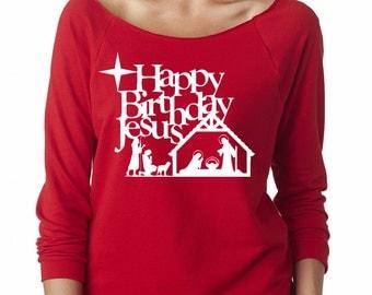Happy Birthday Jesus shirt, top, ladies, Christmas 3/4 sleeve top