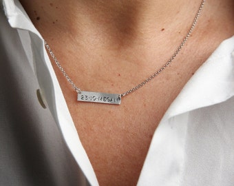 Personalized Bar 25 x 6 mm Necklace, Nameplate Necklace, Coordinates of my Home, Birthday Date, Engraved Symbols, Italian Jewelry Gift 138