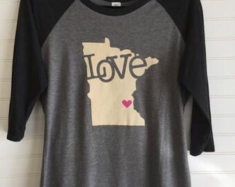 Love Minnesota Raglan Tee