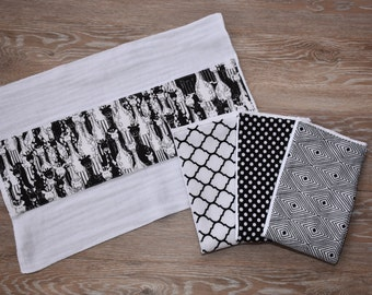Black and White Pattern Burpies (set of 4)