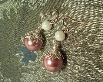 Amethyst lavender dust Pearl Earrings