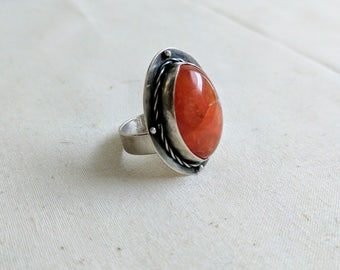 Carnelian Gemstone Ring | Root Chakra Ring | Healing Crystal Jewelry | Carnelian and Sterling Silver Ring