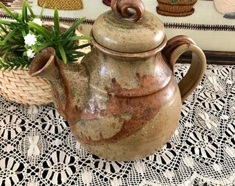 Vintage 1970's Studio Pottery / Studio Pottery Tea Pot / Artist Marked Pottery