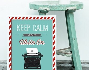 Keep Calm and Carry On Printable Art, Vintage Typewriter, Office Decoration, Office Decoration, Inspirational Quotes, Home Decor