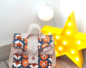 Backpack snack boy - printed foxes & bear