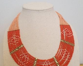 ON SALE, Beaded necklace, Multi strand, Bib Necklace, Coral Beads, Tribal Necklace, Native Necklace, African Necklace, Vintage Necklace