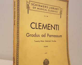 ON SALE, Vintage Sheet Music, Clementi Lusic, Gradus ad Parnassum, Music for Piano, Music Book, Shirmers Library, Vintage Music Books,