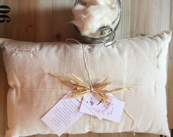 Pillow for children in organic cotton and kapok / pillow for baby nursery