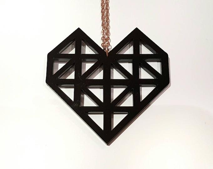 Make.E geometric black heart necklace