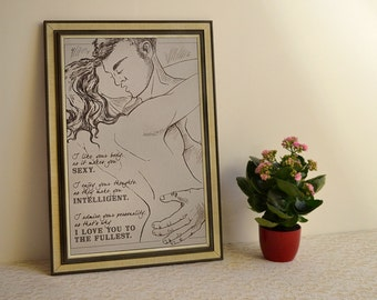 romantic sensual valentines day gift, screen print bedroom decor with love quote, anniversary gift, engagement gift