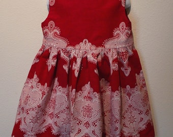 Red & White African Wax Print Dress with White Linen Jacket