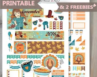 NOVEMBER MONTHLY sticker kit, Printable Sticker kit,Thanksgiving Happy Planner Monthly kit,Printable Monthly Sticker,November sticker