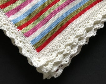 Knitted/ Crochet Baby Blanket/ Colorful Baby Blanket